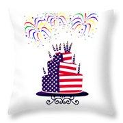 Happy Birthday Usa Throw Pillow