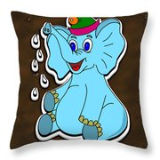 Happy Blue Elephant Gingerbread Throw Pillow
