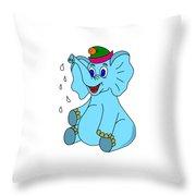 Happy Blue Elephant Throw Pillow