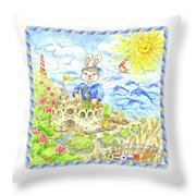 Happy Bunny Building Castle Throw Pillow