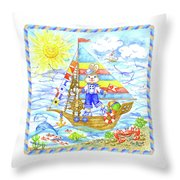 Happy Bunny On The Boat Throw Pillow