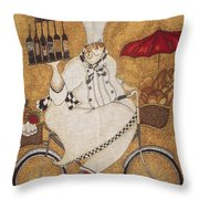 Happy Chef On The Bike Throw Pillow