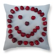 Happy Cherry Face Throw Pillow