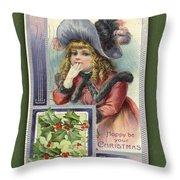 Happy Christmas Vintage Card  Throw Pillow