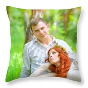 Happy Couple In A Park Throw Pillow