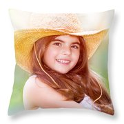 Happy Cute Girl Portrait Throw Pillow
