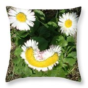 Happy Daisey Throw Pillow