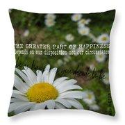 Happy Daisy Quote Throw Pillow