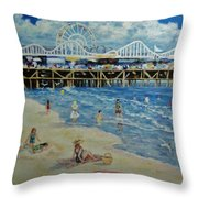 Happy Day At Santa Monica Beach And Pier Throw Pillow