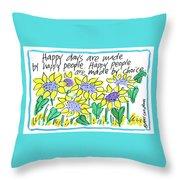 Happy Days W Blue Throw Pillow