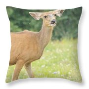 Happy Deer Throw Pillow