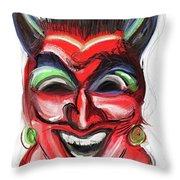 Happy Devil Throw Pillow
