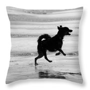 Happy Dog Black And White Throw Pillow