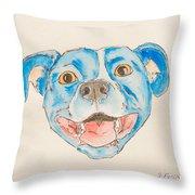 Happy Dog Blue Throw Pillow