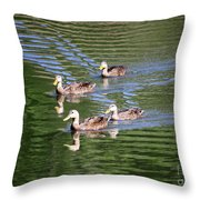 Happy Ducks On The Pond Throw Pillow