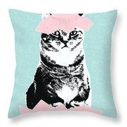 Happy Easter Cat- Art By Linda Woods Throw Pillow
