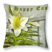 Happy Easter Lily Throw Pillow