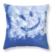 Happy Face Sky Throw Pillow