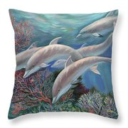 Happy Family - Dolphins Are Awesome Throw Pillow