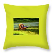 Young Family Enjoying The Swiss Country Side Throw Pillow