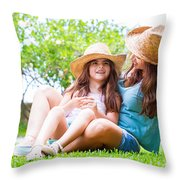 Happy Family In The Backyard Throw Pillow