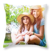Happy Family On A Backyard Throw Pillow
