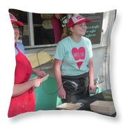 Happy Food Truck Workers Throw Pillow