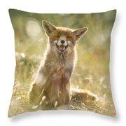 Happy Fox Is Happy Throw Pillow