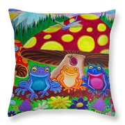 Happy Frog Meadows Throw Pillow