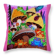 Happy Frog Valley Throw Pillow