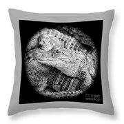 Happy Gator Black And White Throw Pillow