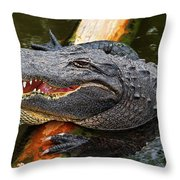 Happy Gator Throw Pillow