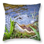 Happy Gator Throw Pillow