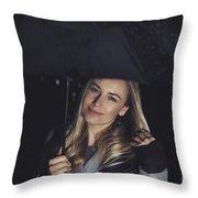 Happy Girl At Rainy Night Outdoors Throw Pillow