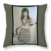 Happy Girl In Naga Outfit  Throw Pillow