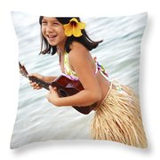 Happy Girl With Ukulele Throw Pillow by Brandon Tabiolo - Printscapes