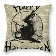 Happy Halloween Witch With Broom Dictionary Artwork Throw Pillow