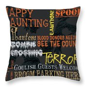 Happy Haunting Typography Throw Pillow