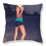Happy Healthy Sportive Woman Throw Pillow