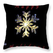 Happy Holiday Snowflakes Throw Pillow