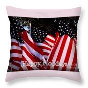 Happy Holidays Flag 1 Throw Pillow