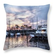 Happy Hour Sunset At Bluewater Bay Marina, Florida Throw Pillow