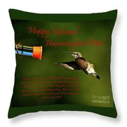 Happy Hummer Day Throw Pillow