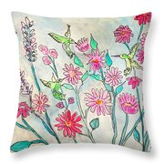 Happy Hummingbirds Throw Pillow