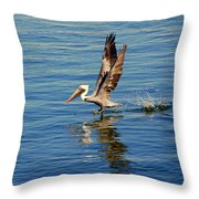 Happy Landing Pelican Throw Pillow