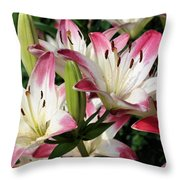 Happy Lilies Throw Pillow