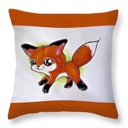 Happy Little Fox Throw Pillow