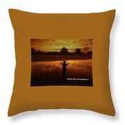 Happy Moment At A Beach Throw Pillow