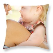 Happy Mother Holding Baby With Look Of Surprise Throw Pillow