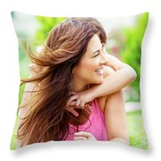 Happy Mother With Daughter Throw Pillow